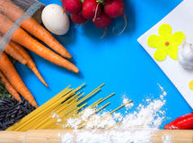 Ingredients for pasta: spaghetti, vegetables and spices  Stock Photo