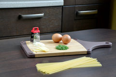 Ingredients. For pasta on the table Royalty Free Stock Photography