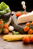 Ingredients for pasta with tomatoe sauce Stock Images