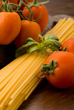 Ingredients for pasta with tomatoe sauce Royalty Free Stock Image
