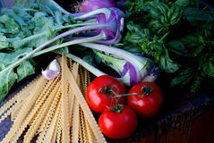 Ingredients for pasta with vegetables Royalty Free Stock Photography