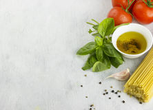 Ingredients for paste: spaghetti, basil, tomatoes, garlic, peppe Stock Images