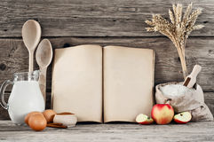 Ingredients for pastry with apples (pie, cake, strudel) on woode Stock Image
