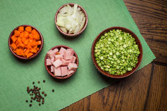 Ingredients for Pea Soup Stock Photos