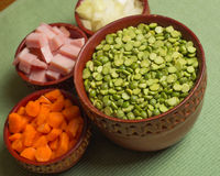 Ingredients for Pea Soup Stock Photo
