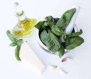Ingredients for Pesto alla Genovese - basil, parmesan, garlic, o. Live oil Royalty Free Stock Photos