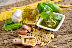 Ingredients by pesto genovese Stock Images