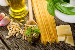 Ingredients for pesto pasta Royalty Free Stock Photos