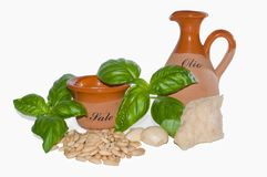 Ingredients of pesto sauce Royalty Free Stock Photography