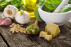 Ingredients for pesto sauce Stock Photography