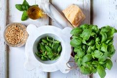 Ingredients For Pesto Sauce Royalty Free Stock Photo