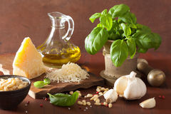 Ingredients for pesto sauce over wooden rustic background Stock Photography