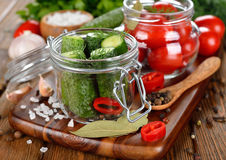 Ingredients for pickling cucumbers and tomatoes Royalty Free Stock Photography