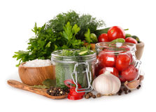Ingredients for pickling cucumbers and tomatoes Royalty Free Stock Images