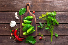 Ingredients for pickling cucumbers Royalty Free Stock Photos