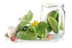 Ingredients for pickling or preserves cucumbers on white Royalty Free Stock Images