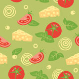 Ingredients for pizza - seamless pattern. Seamless vector background with tomato, cheese, basil, olives and onion royalty free illustration
