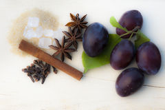 Ingredients for Plum jam Stock Image