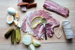 Ingredients pork roulade. Ingredients to prepare pork roulade Royalty Free Stock Photography