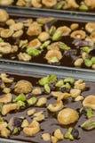 Ingredients for preparation of artisanal chocolate bar Stock Image