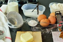 Ingredients for the preparation of a cake. When you want something sweet but you don`t want to go out and then prepare it at home with the ingredients that you stock images