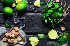 Ingredients for the preparation of cold and refreshing mojito li Royalty Free Stock Image