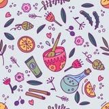 Organic cosmetics seamless pattern. Vector hand drawn illustration. royalty free illustration