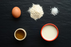 Ingredients for preparation of french crepes Stock Photography