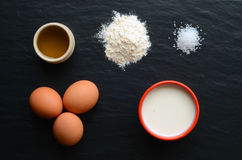 Ingredients for preparation of french crepes Stock Image