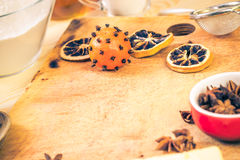 Ingredients preparation iced christmas gingerbread kitchen table Stock Photography