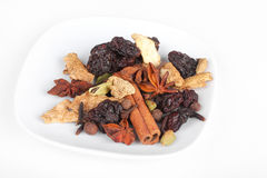 Ingredients for preparation mulled wine on plate Royalty Free Stock Photography