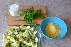 Ingredients for the preparation of zucchini casseroles royalty free stock image