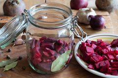 Preparation of beet kvass - fermented red beets Stock Image