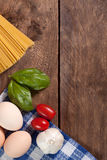 Ingredients for preparing a meal. Royalty Free Stock Image