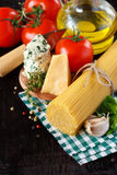 Ingredients for preparing pasta. Stock Photos