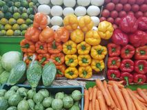 Variety of vegetables arranged in a market. Ingredients for preparing salads and healthy vegetarian food, mix color in vegetables, backdrop for organic food and Royalty Free Stock Images