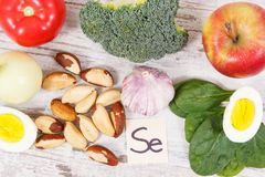 Ingredients or products as source selenium, vitamins, minerals and dietary fiber stock photos