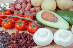 Natural products rich in potassium K . Healthy food concept. Royalty Free Stock Photography