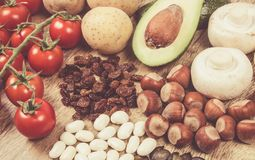 Natural products rich in potassium K . Healthy food concept. Stock Photos