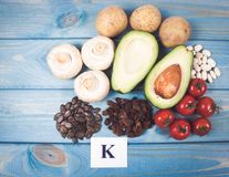 Natural products rich in potassium K . Healthy food concept. Stock Photography
