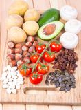 Natural products rich in potassium K . Healthy food concept. Stock Image