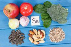 Products and ingredients containing selenium and dietary fiber, healthy nutrition. Ingredients or products containing selenium and dietary fiber, natural sources Royalty Free Stock Image