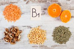 Products and ingredients containing vitamin B1, dietary fiber and minerals, healthy nutrition Royalty Free Stock Photography