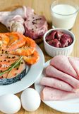 Ingredients for protein diet Stock Images