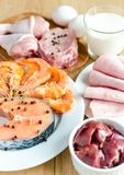 Ingredients for protein diet Stock Photos
