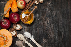 Ingredients for pumpkin and apple pie. royalty free stock photography