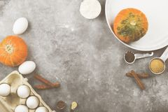 Ingredients for pumpkin pie - flour, pumpkins, eggs, cane sugar, various spices (nutmeg, ginger, cinnamon, anise) and white round royalty free stock photos