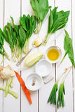 Ingredients for ramsons soup Royalty Free Stock Image