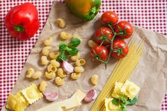 Cooking romantic italian dinner for two: fresh and healthy stock photos