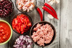 Ingredients ready for preparing chili con carne. Mincemeat, papr Stock Image